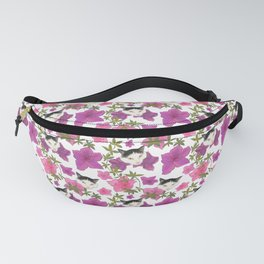 Harlequin Cats and Pink Azalea Floral Pattern Fanny Pack