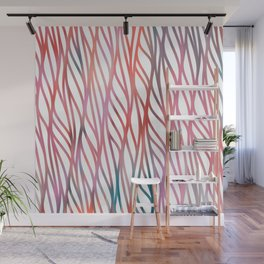 Geometrical coral pink teal watercolor pattern Wall Mural
