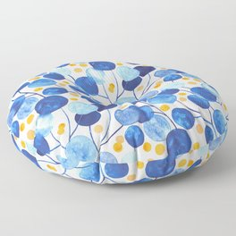 Pompom Plants Cobalt & Gold Floor Pillow