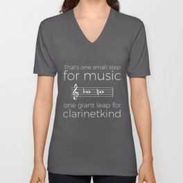 Crossing the break (clarinet) - white text for dark t-shirts Unisex V-Neck