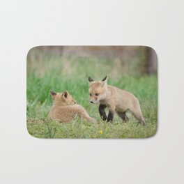 Coming to Get You (Baby Foxes) Animal / Wildlife Photograph Bath Mat
