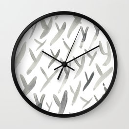 Watercolor Y's - Grey Gray Wall Clock