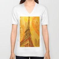 eiffel V-neck T-shirts featuring Eiffel by 3crows