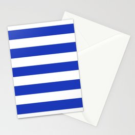Persian blue - solid color - white stripes pattern Stationery Cards