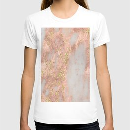 Rose Gold Marble with Yellow Gold Glitter T-shirt