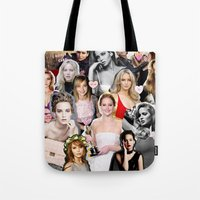 jennifer lawrence Tote Bags featuring Jennifer Lawrence by lastminutebinge