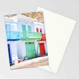 202. Tiny colorful Houses, Greece Stationery Cards