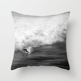 Lone Surfer in Black and White Throw Pillow