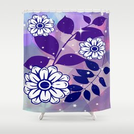 White Flowers on Navy Leaves Shower Curtain