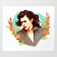 harry styles Art Prints featuring Harry Styles by chazstity