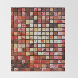 Mosaic red abstract painting by Ksavera Throw Blanket