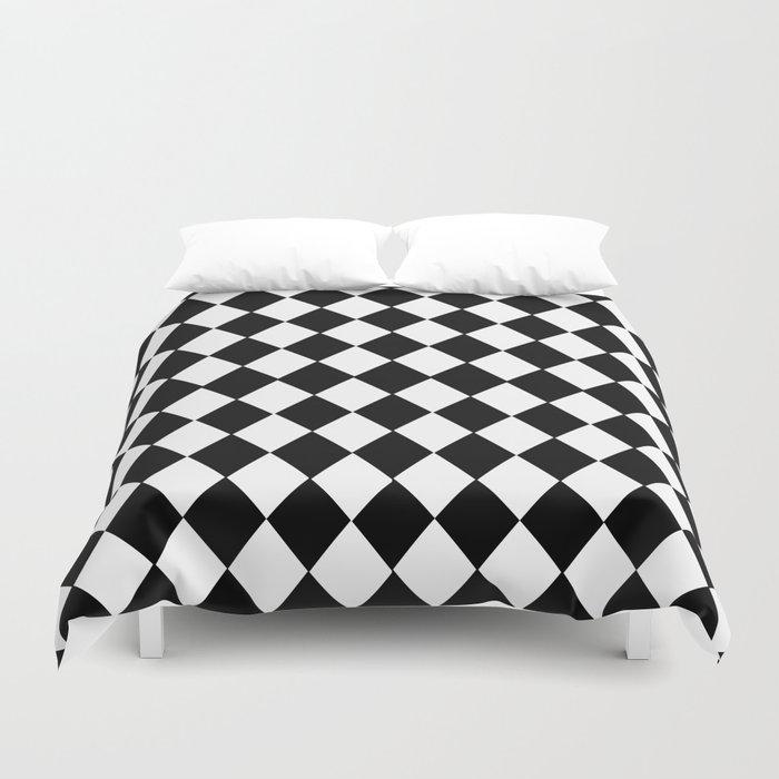 HARLEQUIN BLACK AND WHITE PATTERN #2 Duvet Cover