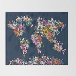 world map floral Throw Blanket