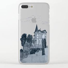 house with a turret and trees Clear iPhone Case