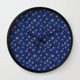 Walking in the air. Winter starry night sky pattern Wall Clock