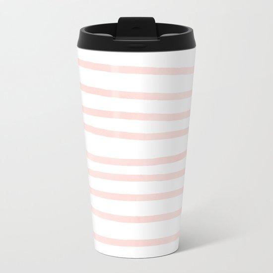 Seashell Pink Watercolor Stripes Metal Travel Mug