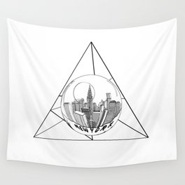 GRAPHIC Geometric. Shape Gray New York in a Bottle Wall Tapestry