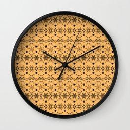 Yellow black Christmas ornament Wall Clock
