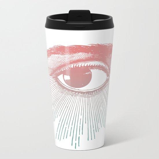 I See You. Pink Turquoise Gradient Sunburst Metal Travel Mug
