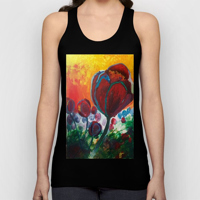 Blue High Poppies on Fire Unisex Tank Top