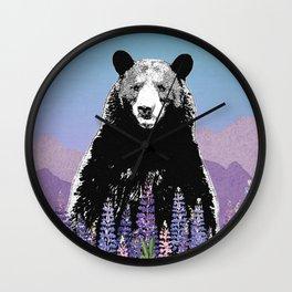 Black Bear in Lupine Wall Clock