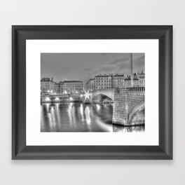 Bonaparte bridge in Lyon, France - hdr b&w Framed Art Print