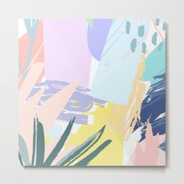 Pastel Collage Palms Metal Print