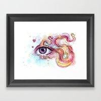 Eye Betta Fish Surreal Animal Hearts Watercolor Framed Art Print