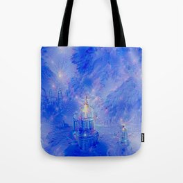 The Teapot Village - Blue Japanese Lighthouse Village Artwork Tote Bag