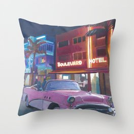 Miami Ocean Drive Convertible Night Poster Throw Pillow