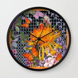 Pink-Orange Golden Spider Mum Butterflies Design Wall Clock