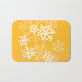 Cute yellow snowflakes Bath Mat