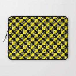 Yellow and Black Smiley Face Check Laptop Sleeve