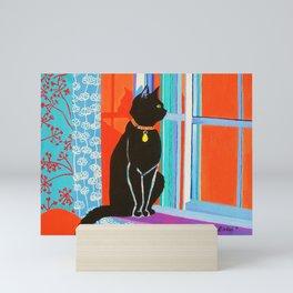 Black Cat on the Windowsill Mini Art Print