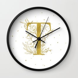 Letter T Gold Monogram / Initial Botanical Illustration Wall Clock