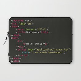 Hello World, I am a Web Developer Laptop Sleeve