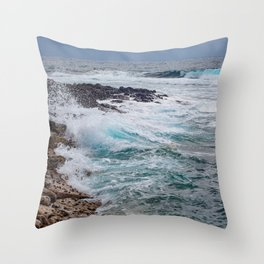 troubled waters rocky shore Throw Pillow