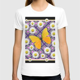 Yellow Butterfly on Black-grey Shasta Daisy Abstract Pattern T-shirt