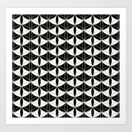 Fan Pattern Black-White Art Print