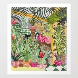 Black cat in the Garden Art Print