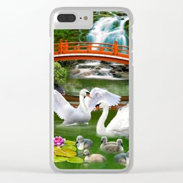 Swans and Baby Cygnets in an Oriental Landscape Clear iPhone Case