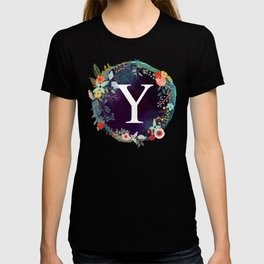 Personalized Monogram Initial Letter Y Floral Wreath Artwork T-shirt