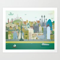 barcelona Art Prints featuring Barcelona by LaPendeja