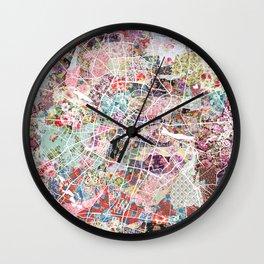 Poznan map Wall Clock
