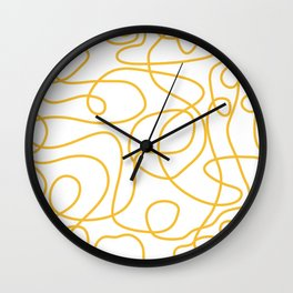 Doodle Line Art | Mustard Yellow Lines on White Wall Clock