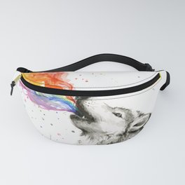 Wolf Howling Rainbow Watercolor Fanny Pack