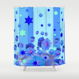 STARS & BLUE MORNING GLORIES RAIN POP ART Shower Curtain