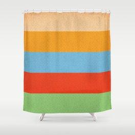 VINTAGE RETRO PATTERN HORIZONTAL BARS Shower Curtain