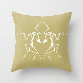 Dinosaur Fossil Ink Blot 2, Mustard Throw Pillow