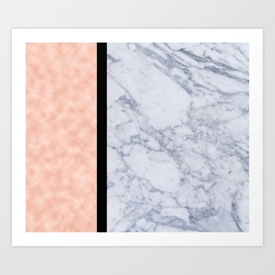 Modern candy pink and marble Art Print